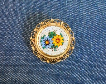 Signed Italy Micro Glass Mosaic Brooch Pin