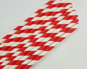 Paper Straws - red straws - striped red straws-colorful paper straws - birthday party straws - 10 count