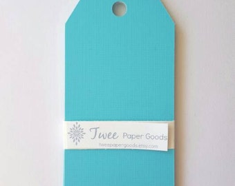 Gift Tags - Paper Tags -  parcel tags - acqua color tags - 12 paper tags