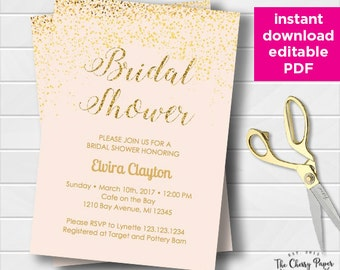 INSTANT DOWNLOAD Bridal Shower Invitation, Bridal Invite, Printable, DIY, Dots, Gold, Confetti,Glitter, Pink, Editable, COG01