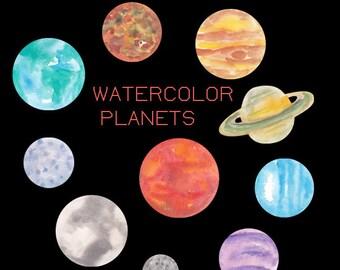 Watercolor Planets Clip Art Digital Download