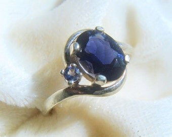 Precious Iolite Ring with Iolite Accent in SS