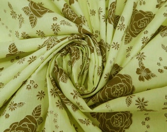 "Floral Printed Green Color Pure Cotton Fabric 40"" Wide Sewing Apparel Drape Dress Making Crafting Material Fabric By 1 Yard ZBC4389"