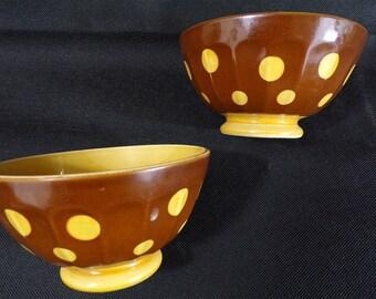 Pair of bowls vintage a pea Sarreguemines France / collection bowls / bowls vintage / latte bowls / kitchen vintage / vintage france