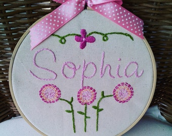 Sophia - hand embroidered hoop.