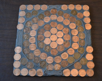 In For a Penny, Mosaic Trivet, 8x8-inch Square, Handmade
