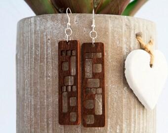 Earrings, Dangle Earrings, Lightweight Earrings, Everyday Earrings, Wood Earrings, Unique Earrings.