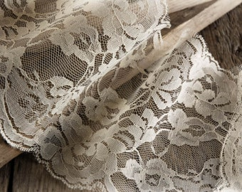 """Wide Lace Ribbon 6"""" wide x 10 yards Long- Ivory, White Runner, Chair Ties, Etc."""