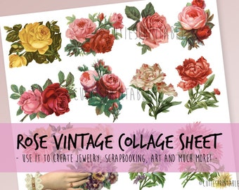 Retro Rose Collage Sheet - INSTANT DOWNLOAD - scrapbooking craft - Retro Rose - Vintage Rose isolated on white background