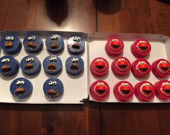 Elmo & Cookie Monster choc covered oreos