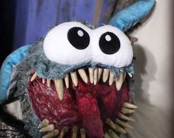 Herman Monster- scary monster plush, horror art doll, modified toy, scary teeth, scary mouth, horror stuffed animal