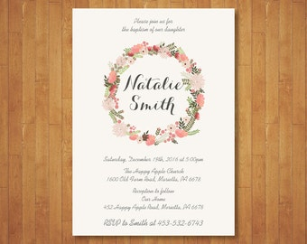Floral Baptism Invitation. Baby Girl Baptism Invitation. Christening. Floral Wreath Flowers. Naming Day. Pink Gray Green. Printable Digital.