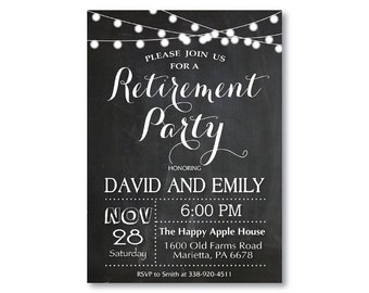 Retirement Party Invitation. Retirement Invitation Chalkboard String Lights. Black and White. Holiday Invitation. Printable Digital.