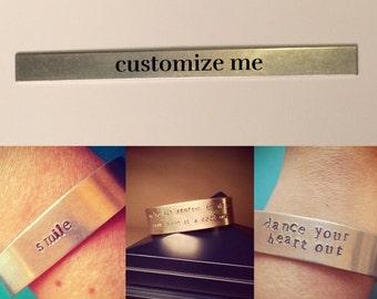 Custom stamped aluminum cuff bracelet
