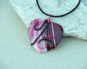 Wire wrapped pendant/Agate pendant/Gemstone necklace/ooak/gift her/valentine's day gift/Women's jewelry