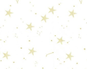 Magic Lucky Stars White METALLIC by Sarah Jane for Michael Miller - Gold Star - Quilting Cotton Fabric - by the yard fat quarter half
