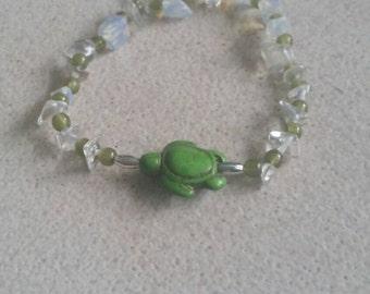 beaded opalite turtle bracelet