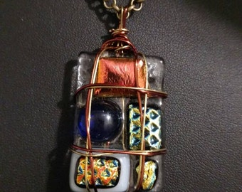 Wire Wrapped Fused Glass Necklace