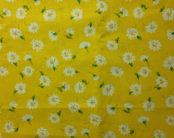 White Daisies on Yellow Background, Rose & Hubble for David Textiles, 100% Cotton