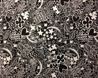 Black and White Doodles of Hearts, Stars on Black Background, 100% Cotton