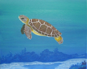 Sea Turtle Painting Coral Reef Sea Turtle Beach Decor Sea Turtle Art Hand Painted Sea Turtle