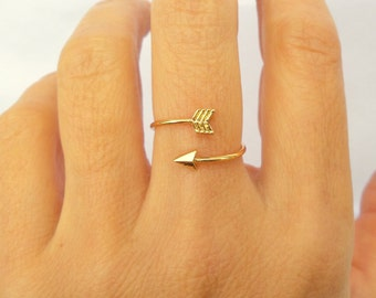 Arrow Ring / Arrow Jewelry / Simple Ring / Statement Ring / Gold, Gold Rose Sterling silver Rings / Gift for her / Delicate Ring