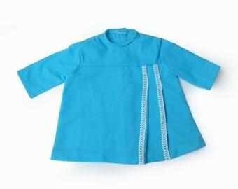 70's Blue Crimplene Dress New Stock 6-9 Months