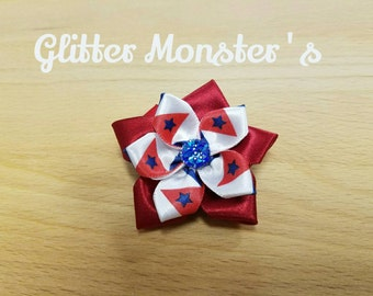 Red, White, and Blue Flower Bow