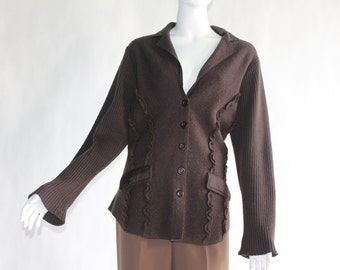 Vintage Knitted Chocolate Brown Button-Up Sweater - 100% WOOL - Size LARGE