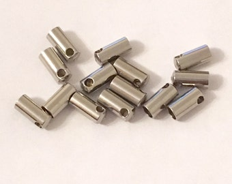 50 Pcs Stainless Steel End Cap Cord Ends 9 x 4 mm (2.5 mm Hole) | Bracelet Ends | Cord Ends | Cord Connector | Terminators | Cord End | 0147