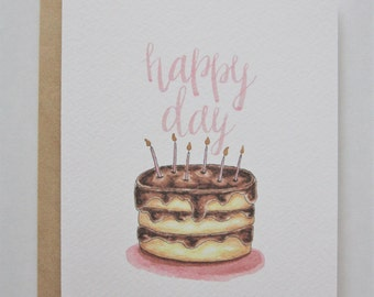 Happy Day: Birthday Card - Modern, Minimal Design - Watercolor Illustration - Brush lettered - Pink - Gold Embellished Birthday Candles - A2