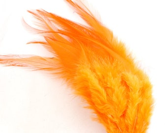 4-6 Inch Orange Feathers. Orange Bird Feathers. Orange Costume Feathers. Orange Feathers for Crafts. Short Feathers for Earrings. F162