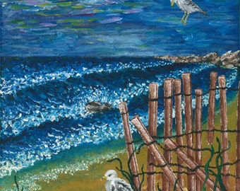 Seagulls at the Shore, giclee art print