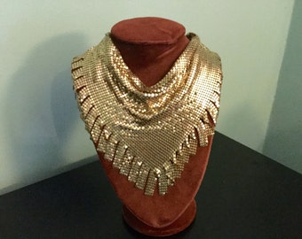 Vintage Gold Tone Mesh Rare Fringed Whiting & Davis Style Scarf, Ascot, Collar