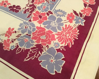 Vintage 40's SHABBY CHIC TABLECLOTH Printed Floral Cotton Magenta Plum Pink Light Blue Cottage Table cover Kitchen 54 x 72