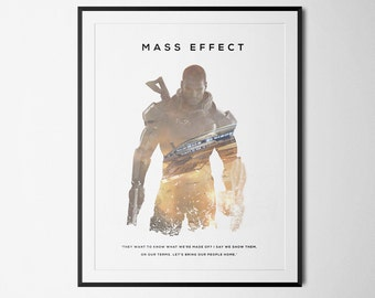 Mass Effect Inspired Male Shepard Double Exposure Poster Print - Video Game Art
