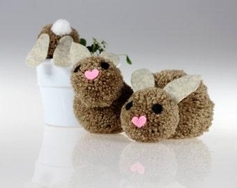 Pom Pom Bunny- Easter Bunny - Pom Pom Bunnies - Easter Bunnies - Easter Basket Stuffer - Handmade Bunnies - Easter Decoration - Spring Bunny