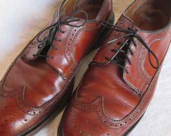 Vintage BROGUE, Wingtip Dress Shoes, in Brown/Cognac Leather, Men's Size 10.5 Medium Width ~ Threadneedle Street, London, for Boyds