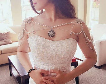 Necklace For The Shoulders 1920s Style Great Gatsby Beaded Pearls Crystals Bridal Wedding Body Jewelry Epaulette Straps Chain