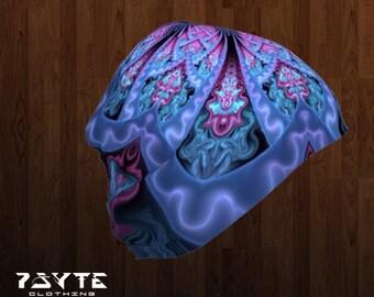 Beanie - Psychedelic Beanie - Pink beanie - Festival hat - Doof beanie - Bamboo beanie - Psy hat - purple beanie - fractal mandala, blue