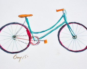 Blue bicycle watercolor painting, watercolor on paper size 21 x 29.7 cm original with signed for decorate