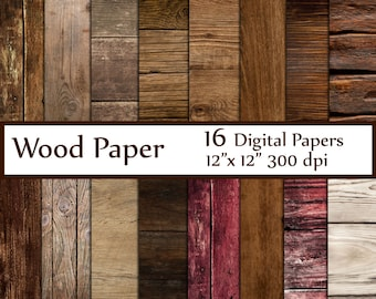 "Wood Digital Paper: ""WOOD PAPER"" Wood Backdrop Printable Wood textured paper Wood Digital Background Wood Scrapbook Paper Rustic Wood Paper"