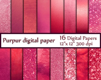"Pink foil digital paper: ""METALLIC DIGITAL PAPER"" Pink textured paper Pink glitter background Fuschia digital paper Digital Pink Foil"