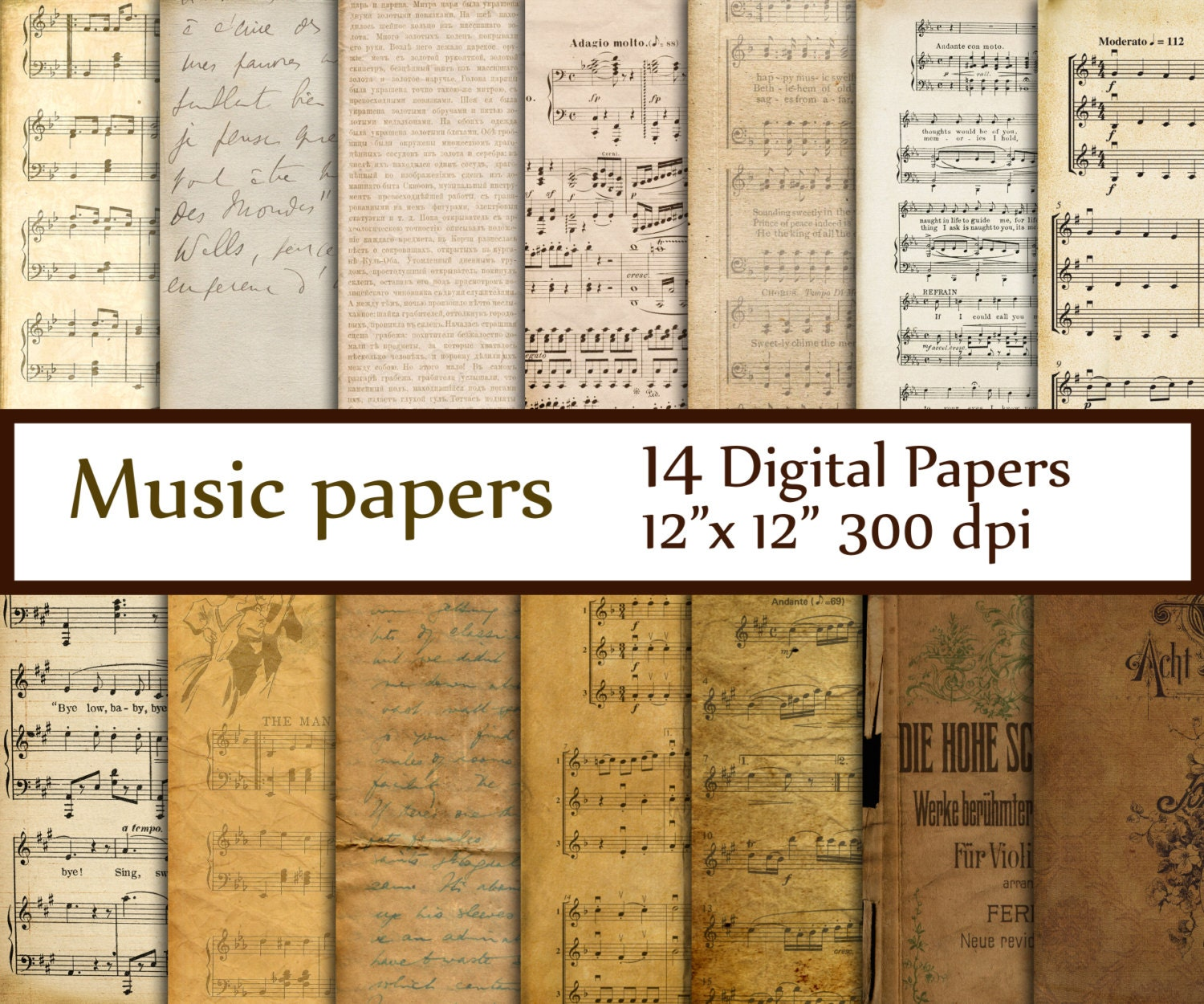 Antique Paper: Antique Music Digital Papers: MUSIC PAPERS Music By