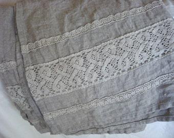 Heavy Bath towel linen bath towel with linen lace trim by Luxoteks