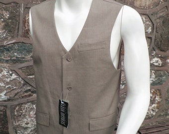 Vintage Sandy Coloured Waistcoat Vest by Sergio Vitti   Size S