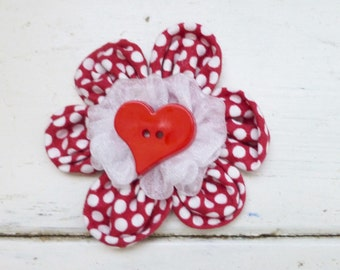 Fabric flower applique, fabric flower for sale, fabric flower for hair clips, fabric flower for brooches, cute flower, red flower