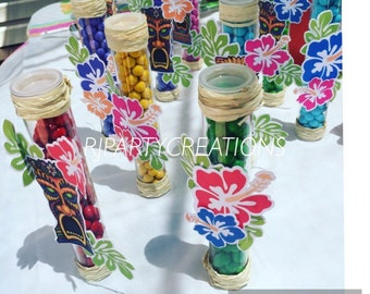 12 Tiki Luau candy tube favors