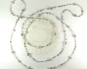 Long Strand Necklace With Pearls and Crystals