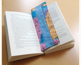 Bookmark in vintage style map fabric